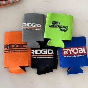 Rigid & Ryobi koozie set of 5 slim & regular NEW